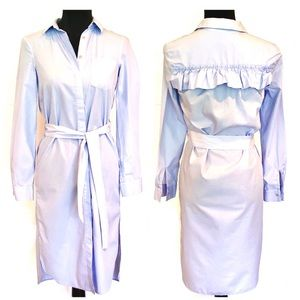 NWOT BLUE DRESS SHIRT MIDI DRESS W/BACK RUFFLE